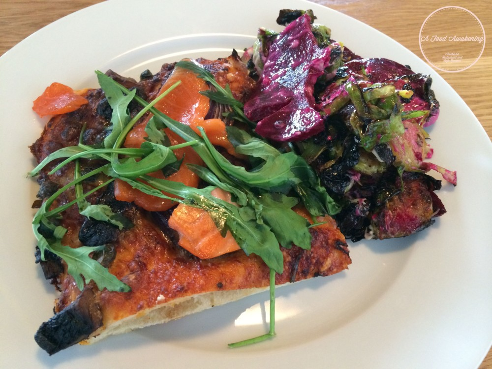 Pizza of the day and side salad - Beetroot & Brussels Sprouts.