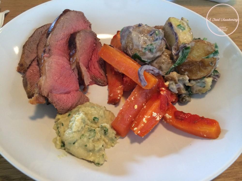 Roast Lamb and Side Salad - Roast Carrots and Potatoes