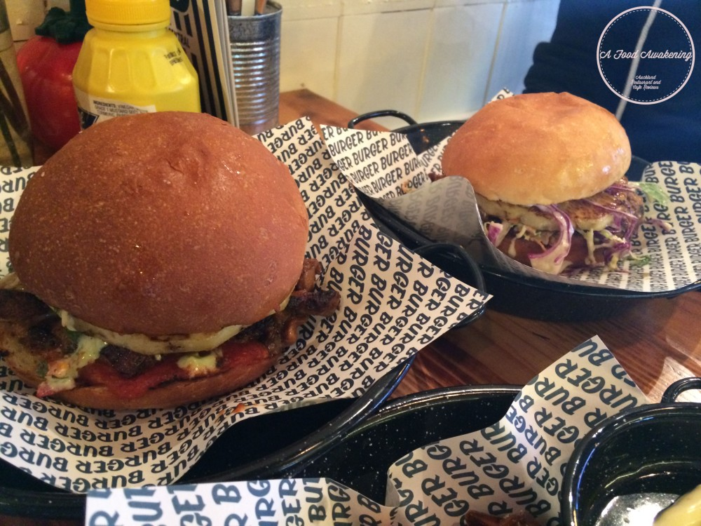 Pork & Chicken Burgers - both with pineapple
