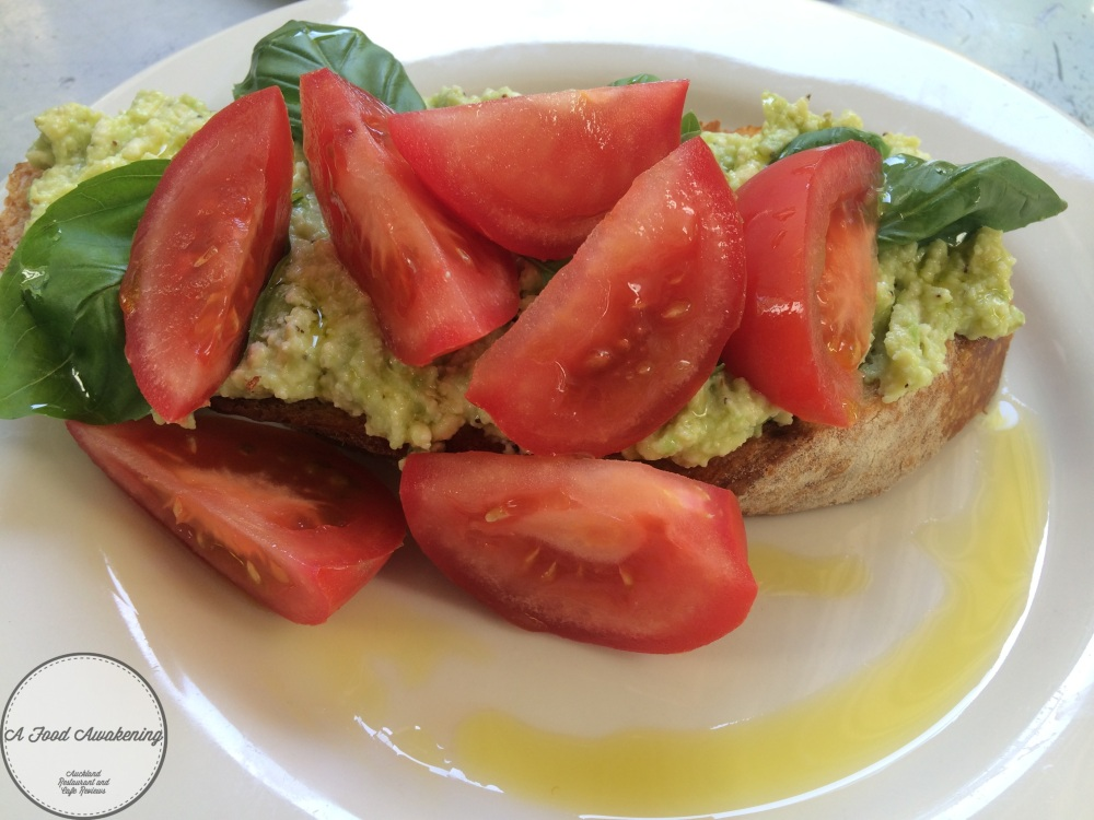Breakfast Bruschetta with tomatoes instead of eggs