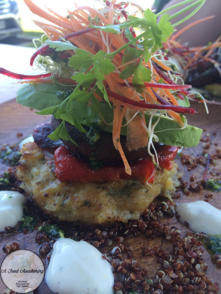 Mushroom and Potato hash stack with Avocado instead of eggs