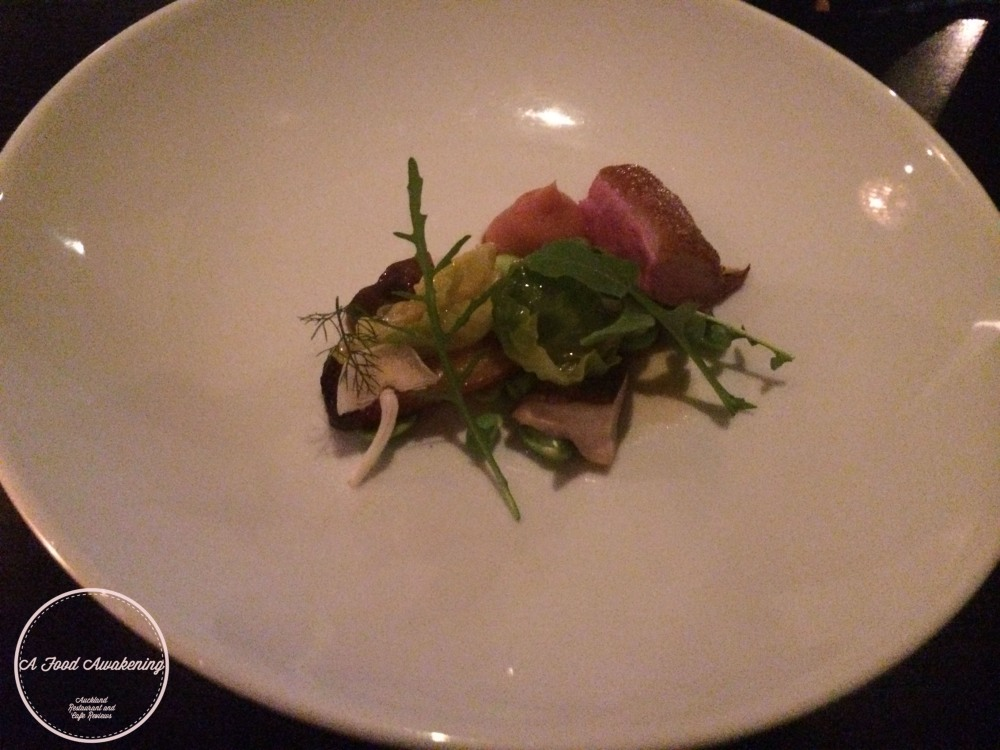 Duck, quince, shiitake & lettuces