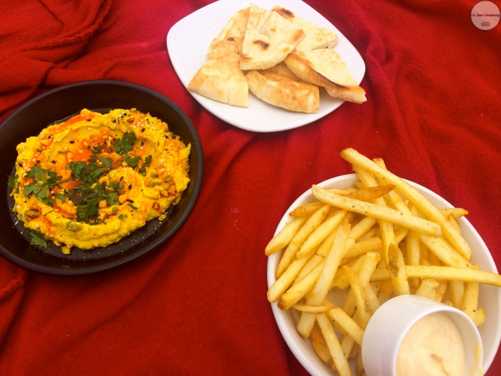 Roasted Pumpkin hummus and Fries