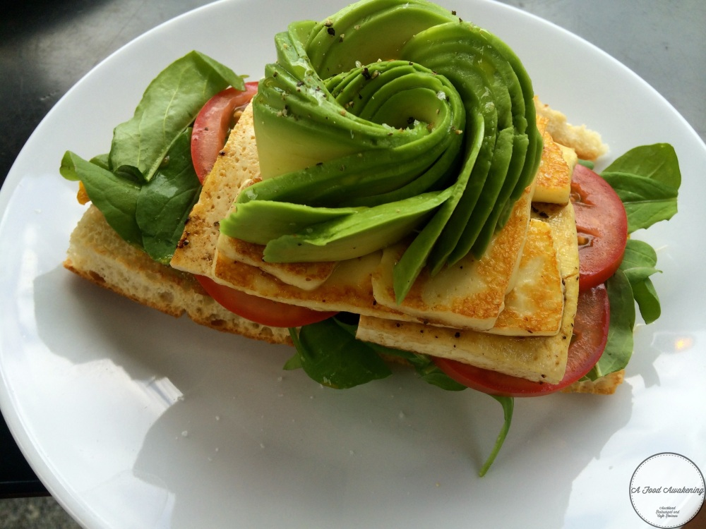 Lemon Peppered Tofu and Halloumi Sandwich