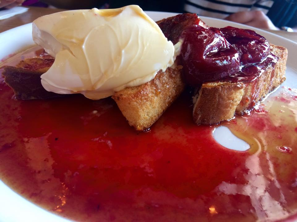 French Toast w/ Marscapone, Poached Plum, Honey Comb